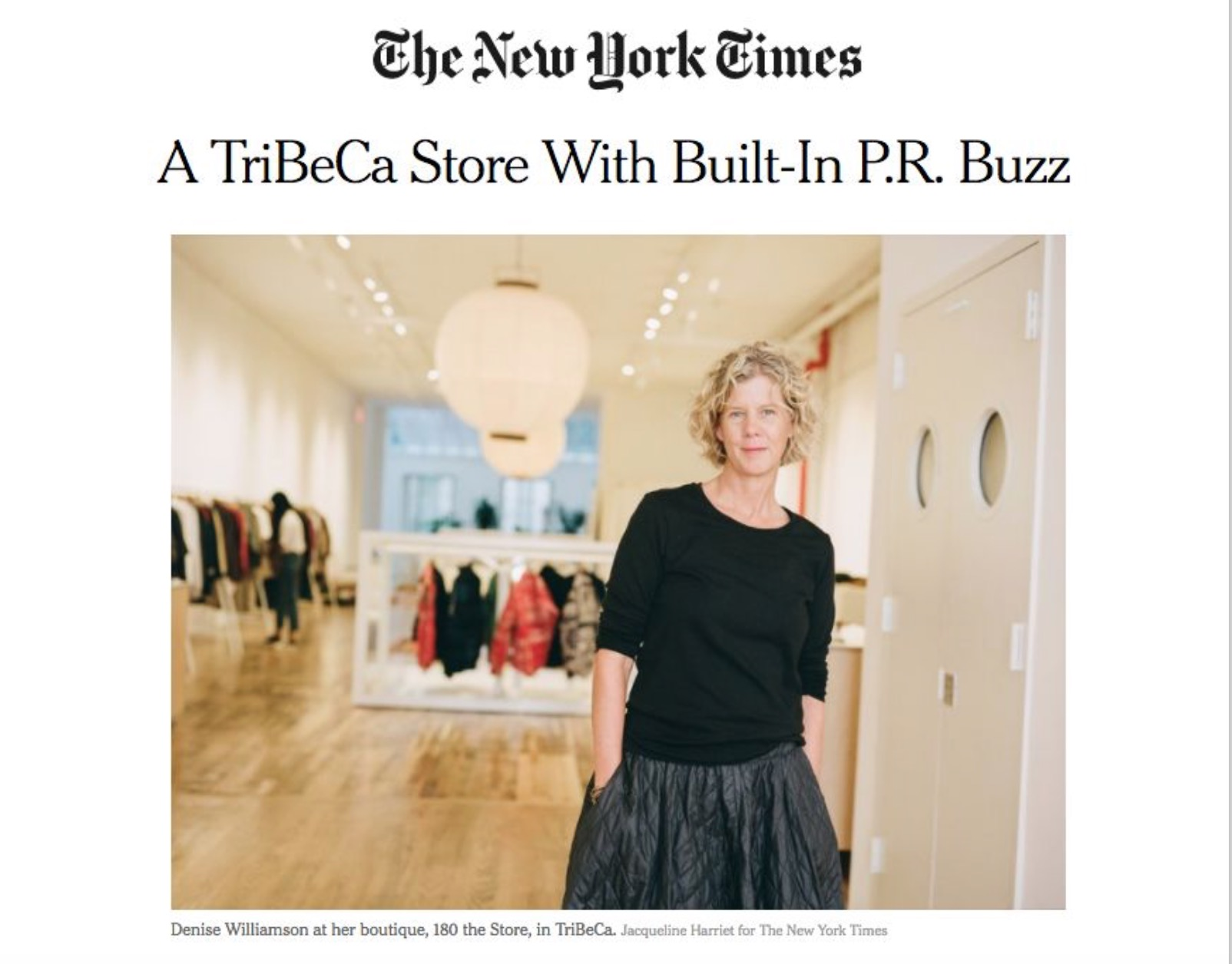 180 the Store Featured in New York Times